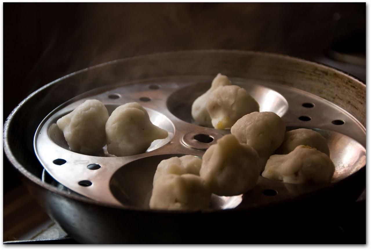 Raw kozhrukattais in steamer