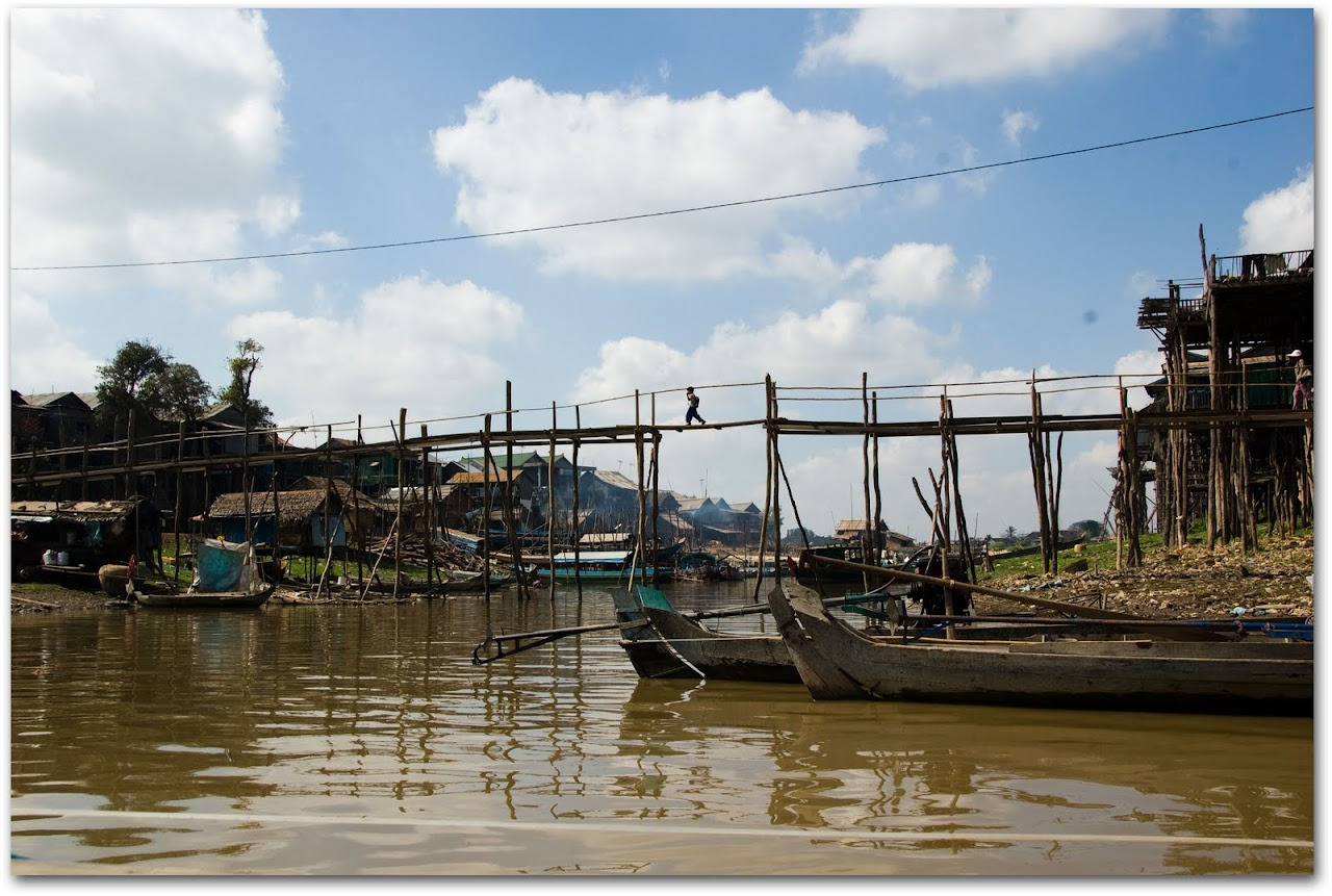Bridge across floating village in Kompong Chhnang