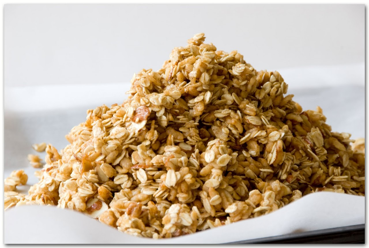 Heaped granola before cooking