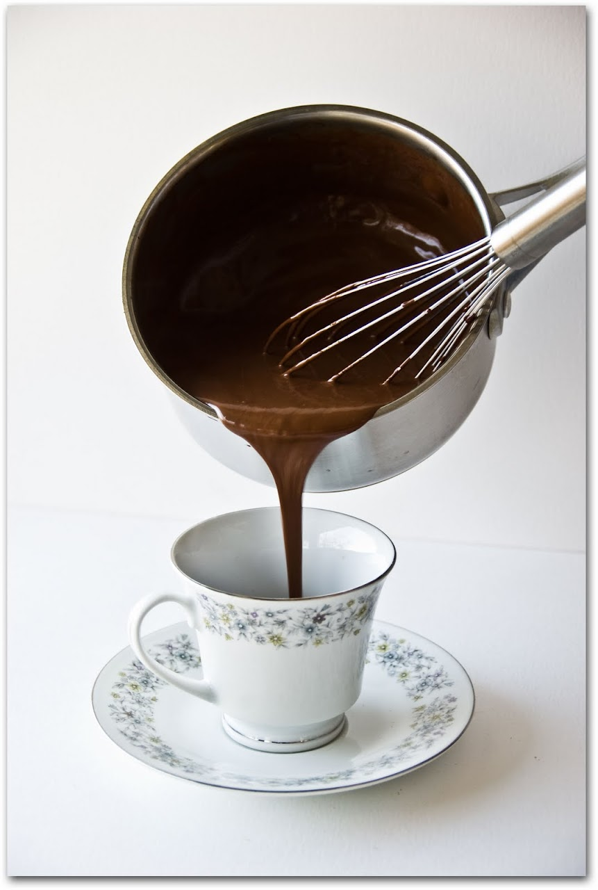 Spiced chocolate poured into cup