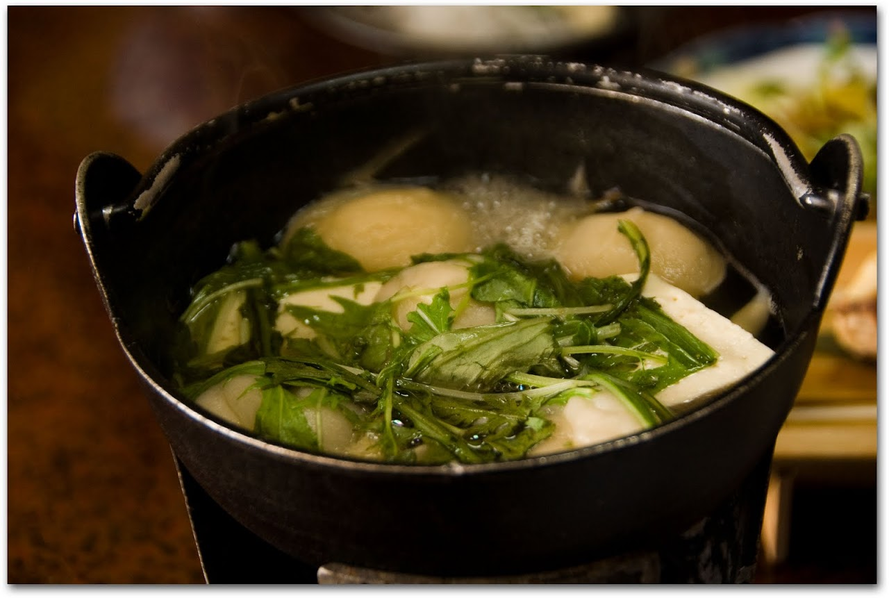Hot pot of dumplings at kaiseki dinner