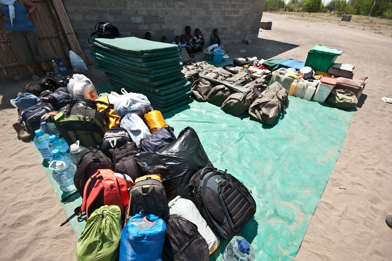 Packing supplies for stay at the Okavango