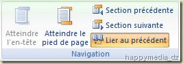 """Word 2007 groupe """"Navigation"""" de l'onglet """"Création"""" Outils des En-têtes et pieds de page"""""""