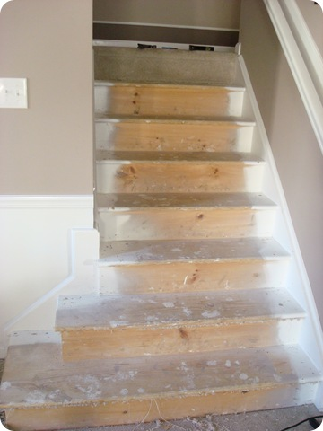 Blogger and host of Do-It-Herself Workshops at The HomeDepot, Thrifty Decor Chick's bare staircase with carpeting removed