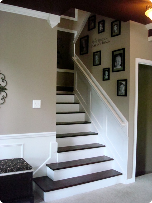 the staircase is done again from thrifty decor chick. Black Bedroom Furniture Sets. Home Design Ideas