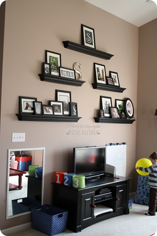 playroom photo wall