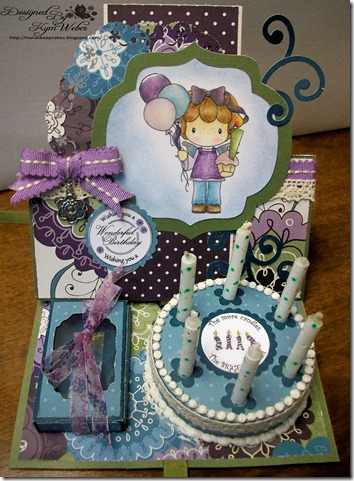 Birthday Gretel Cake with Candles Easel Card2