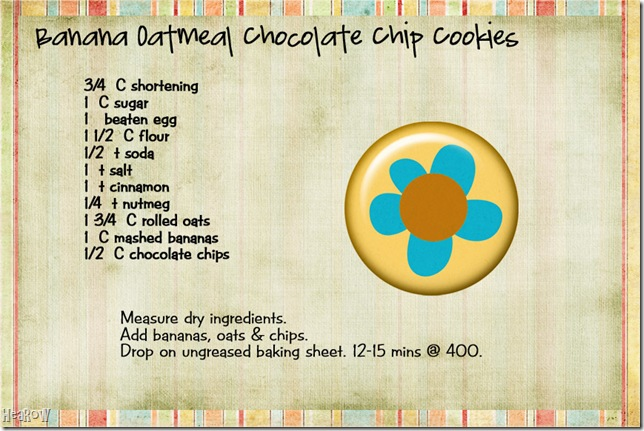 banana oakmeal choc chip cookies