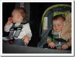 Reid and his cousin Alex napping in the car.  Good babies!