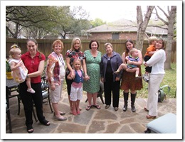 It was hard to get one where everyone was looking and smiling! From left: Annabelle, Karon, Mom, Marianne, Madi, me, Aunt Bobbi, Stephanie, Avery, Bo, Katrena