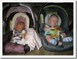 Carly & Reid sleeping in their carseats.  What good babies!