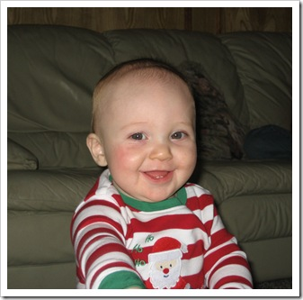 Happy Reid in his Santa PJs from Ammy & Papa