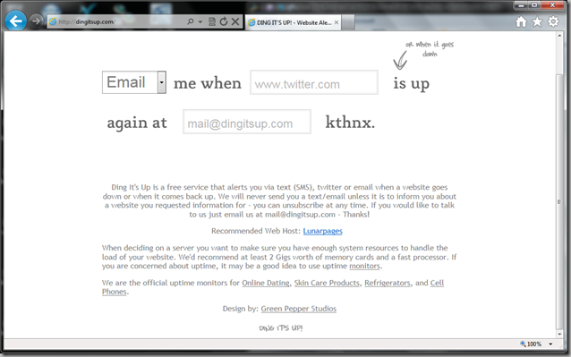 DingItsUp.com screenshot
