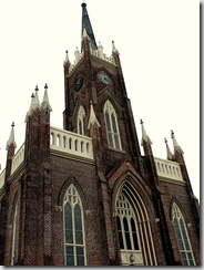 Looking up at the spires of St. Mary Basilica - Natchez