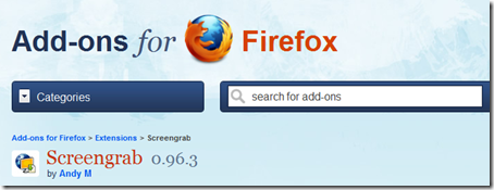 Screengrab : Add-ons Firefox untuk capturing image