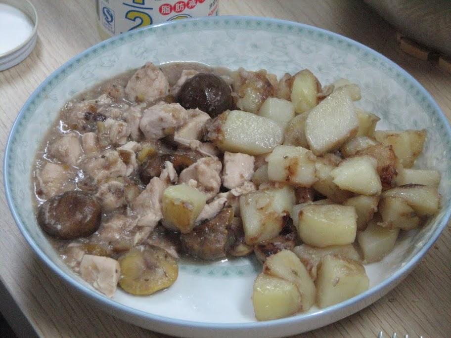 Patates + poulet aux chataignes.