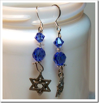Sapphire blue Swarovski Star of David earrings