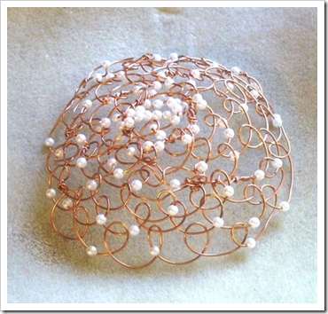 Pearl & Copper Wire Kippah