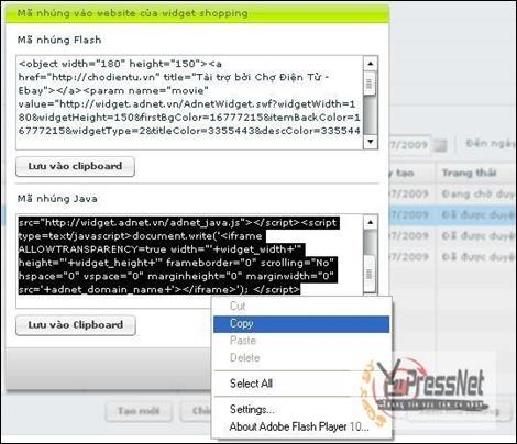 3. Copy code adnet