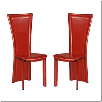 chaise Joana cuir rouge