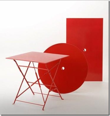 table pliante rouge