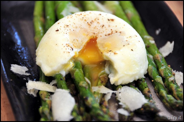 Roasted Asparagus with Poached Egg and Shaved Parmesan Cheese
