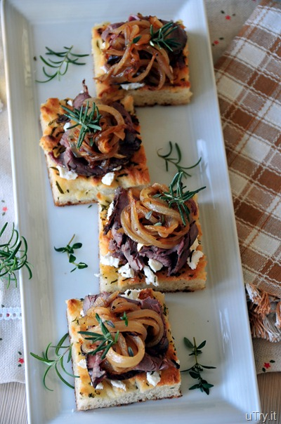Caramelized Onion-Roast Beef and Goat Cheese Focaccia