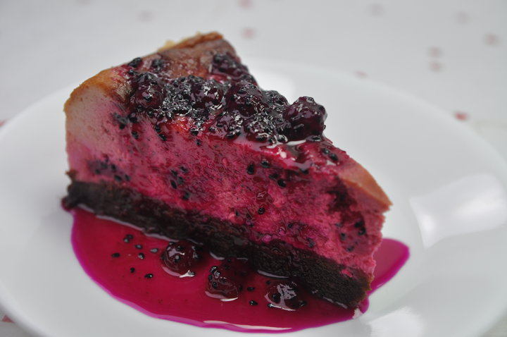 Baked Dragon Fruit Cheesecake
