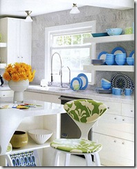 jonathan adler liz lange country residence home kitchen white cabinets open shelves marble countertops counters wall backsplash