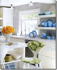 jonathan adler liz lange country residence home kitchen white cabinets open shelves marble countertops counters wall backsplash