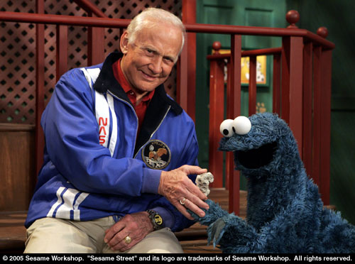 buzz aldrin with cookie monster