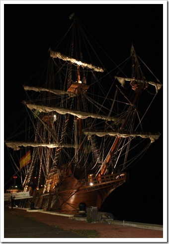 full body shot of the Galleon Andalucia at night in cebu port
