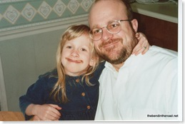 now we both have moustaches, dad