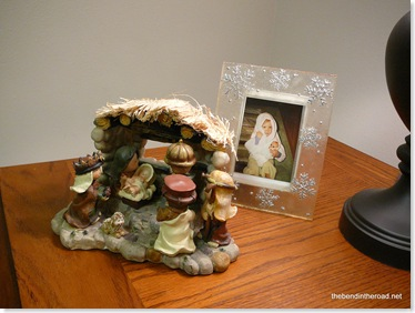 a nativity and photo of the baby Sweet Girl pretending to be Mary