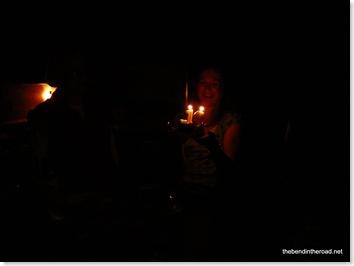 Birthday girl by birthday candlelight