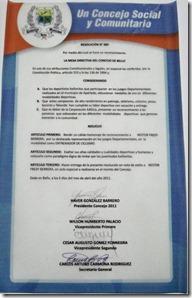 Acta de Reconocimiento a NESTOR FREDDY BARRERA
