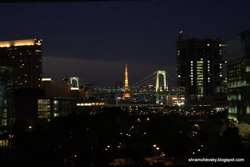 Japan Tokyo Odaiba Rainbow Bridge Tokyo TV Tower Япония Токио Одайба Радужный Мост Токийская Башня Телебашня