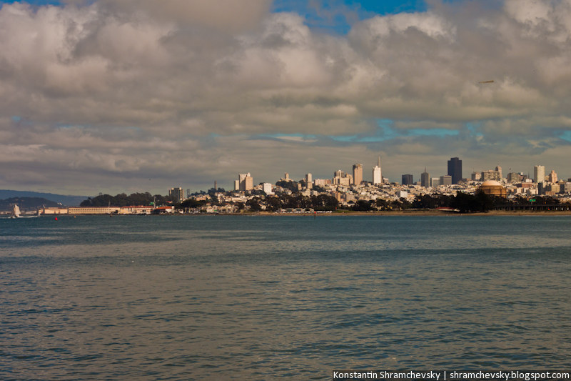 USA California San Francisco Skyline Sea США Калифорния Сан Франциско Вид с моря