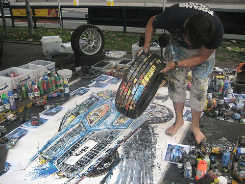 Ford Kuga Art Car Painting by Ian Cook with a Spare Tire