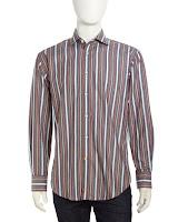 Thomas Dean Striped Shirt, Red & Gray - (SMALL)