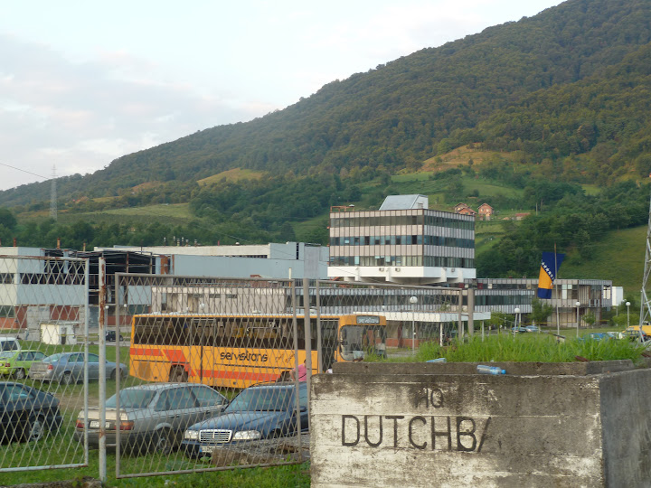 Sign marking former UN Dutchbat Headquarters
