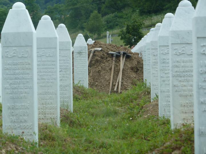 Tombstones in the Srebrenica Potocari-Memorial Center and Cemetery