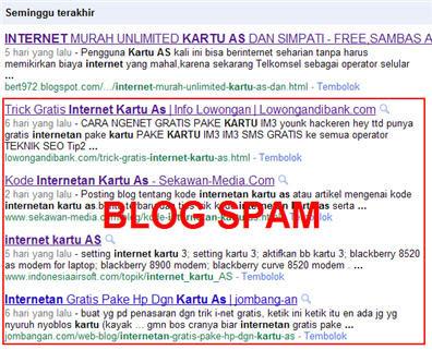 Contoh hasil pencarian Google. Hasil pencarian ke 2 kebawah adalah blog spam