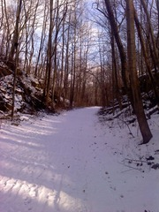 The snow covered trail.