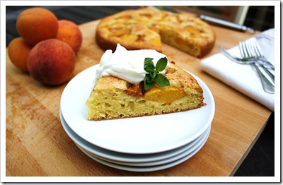 peach johhnycake, cake with, wild hive farm, corn flour, hudson valley fresh, sour cream