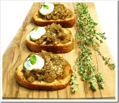 eggplant crostini with basil ricotta