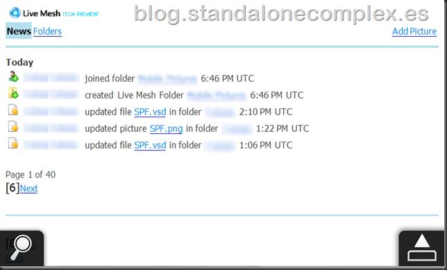 Live Mesh Windows Mobile pestaña noticias