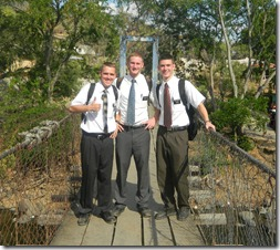 David with Elder Hardy and Elder Wardlow on a bridge to Guatemala in San Lorenzo