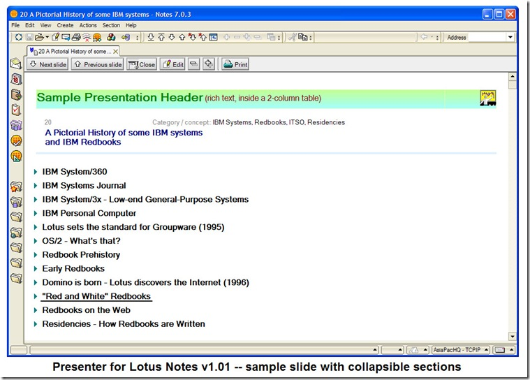 Presenter_for_Lotus_Notes_v1.01_sample_slide_with_collapsible_sections