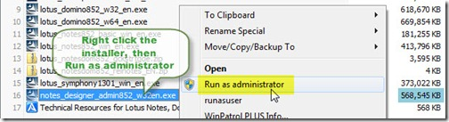 Notes_8.5.2_installer_run_as_administrator_solution